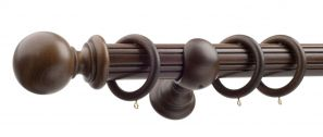 50mm Monarch Countess Antique Walnut Complete Curtain Pole Set 200CM
