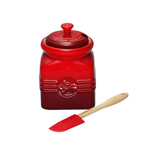 Le Creuset Marmalade/Jam Jar and Spreader - Cerise