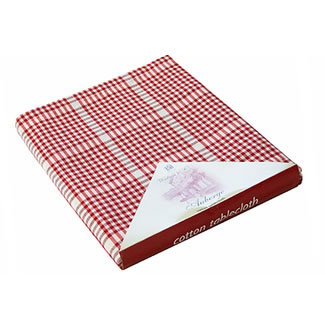Walton & Co. Auberge Red Table Cloth 100% Cotton - Tablecloth 130x230cm