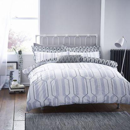 Bianca Cottonsoft Geo Duvet Cover Set Grey - Single