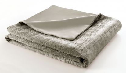 Clarke & Clarke Naples Stone Velvet Throw - 130cm x 230cm