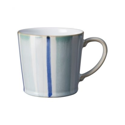 Denby Blue Stripe Painted Large Handcrafted Mug