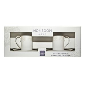 Denby Monsoon Lucille Gold Espresso Cup & Saucer