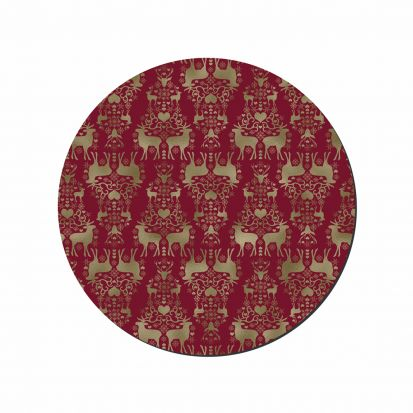 Denby Red & Gold Round Christmas Placemats Set of 6