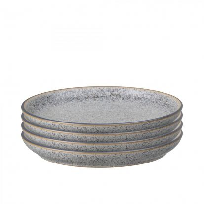 Denby Studio Grey Set of 4 Medium Coupe Plates