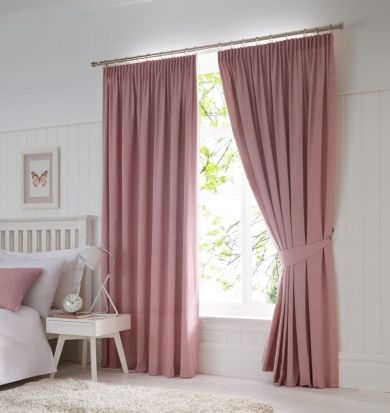 Dijon Ready-Made Blackout Pencil Pleat Curtains – Blush 90