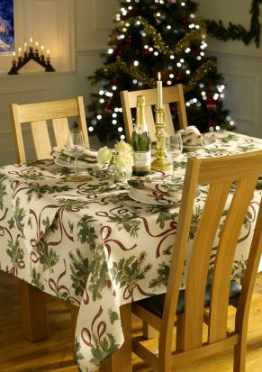 Holly Ribbon Christmas Tablecloth 60