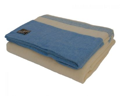 Killarney 100% Pure New Wool Blanket White/Blue Single