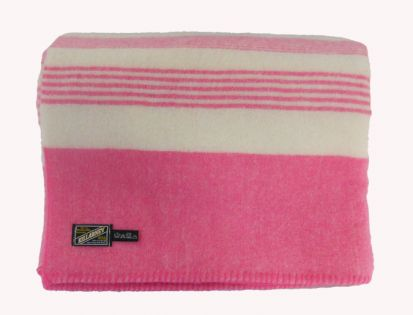 Killarney 100% Pure New Wool Blanket White/Pink Single
