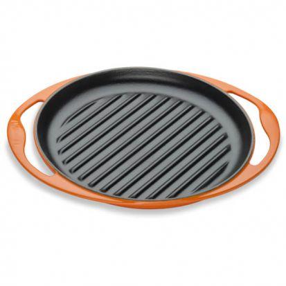 Le Creuset 25cm Cast Iron Round Grill Pan - Volcanic