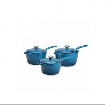 Le Creuset Signature Cast Iron Saucepan Set - Marseille Blue