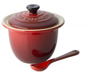 Le Creuset World Cuisine Stoneware Condiment Pot and Spoon - Cerise