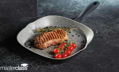 MasterClass 26cm Marble Black Grill Pan