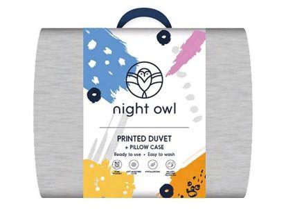 Night Owl Printed Duvet + Pillowcase Grey - Single