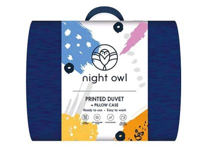 Night Owl Printed Duvet + Pillowcase Navy Blue - Double