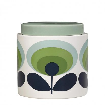 Orla Kiely 70s Oval Flower Ceramic Storage Jar - Green
