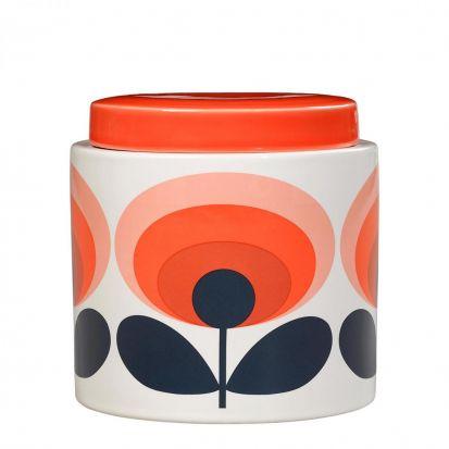 Orla Kiely 70s Oval Flower Ceramic Storage Jar - Orange
