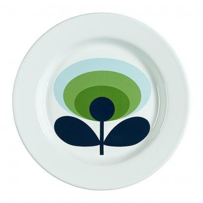 Orla Kiely 70s Oval Flower Enamel Plate - Apple Green