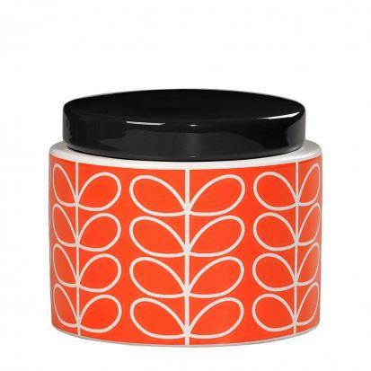 Orla Kiely Linear Stem Small Storage Jar - Persimmon