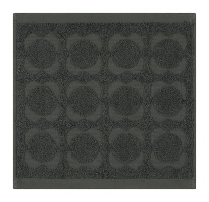 Orla Kiely Sculpted Flower Face Cloth - Charcoal