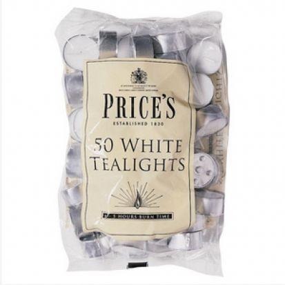 Prices White Tealights Pk 50