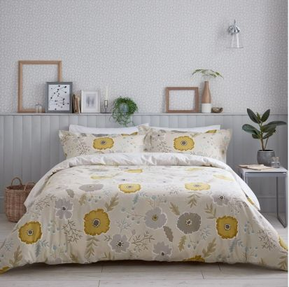 Sanderson Wind Poppies Linen/Ochre Duvet Cover Set - Superking