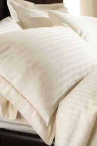 Sateen Stripe Cream Fitted Sheet - Double