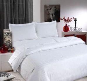 Sateen Stripe White Duvet Cover Set - Superking