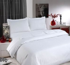 Sateen Stripe White Fitted Sheet - King
