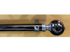 Starr Black Nickle 300CM Smooth Segmented Ball Curtain Pole Set