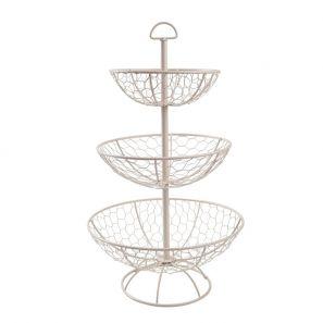 T&G Provence Wireware Three Tier Basket Cream
