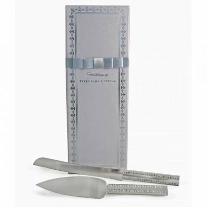 Tipperary Crystal Diamante Silver Handle Wedding Knife & Slice Set