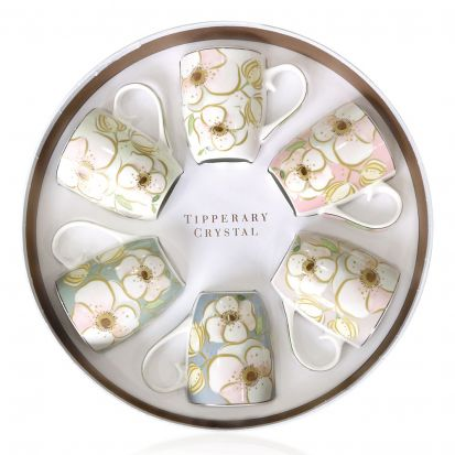 Tipperary Crystal Hat Box Set of 6 Mugs - Garden House
