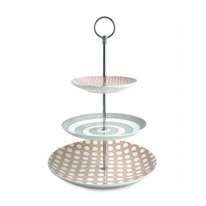 Tipperary Crystal Three Tier Cake Stand Spots & Stripes