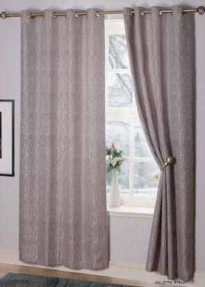 Valletta Interlined Eyelet Readymade Curtains Silver - 90