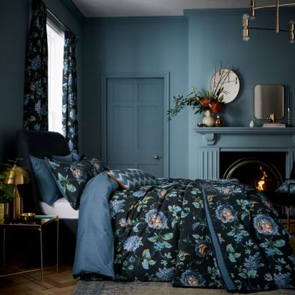 V&A Everlasting Bloom Indigo Duvet Cover Set - Superking