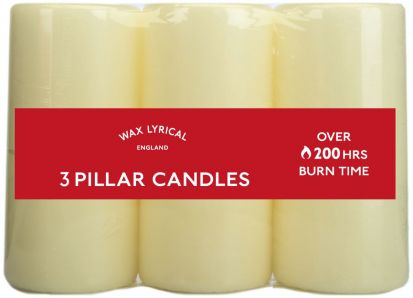 Wax Lyrical Pack of 3 Pillar Candles - Ivory