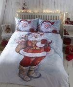 Bedmaker Father Christmas Flannelette Duvet Cover Set Single