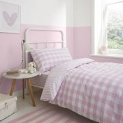 Bianca Check and Stripe Pink Duvet Cover Set - Single 2