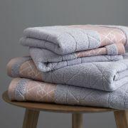 Catherine Lansfield Linear Diamond Blush Towel Bale 2