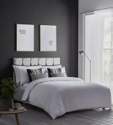 Karen Millen Herringbone Jacquard White Duvet Cover Set - King