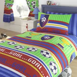 Kids Club Football Stripes Duvet Cover - Single 137 x 198cm
