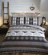 Portfolio Aspen Flannelette Cotton Duvet Cover Set Charcoal Superking