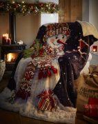 Portfolio Happy Snowman Fleece Throw