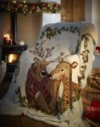 Portfolio Mr & Mrs Stag Christmas Fleece Throw