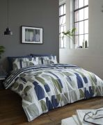 Racing Green Trace Navy & Khaki Duvet Cover Set - Double
