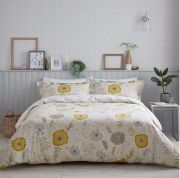 Sanderson Wind Poppies Linen/Ochre Duvet Cover Set - Double