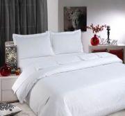 Sateen Stripe White Duvet Cover Set - King