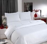 Sateen Stripe White Fitted Sheet - Double