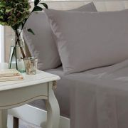 The Linen Consultancy 200 Thread Count Silver Fitted Sheet - King